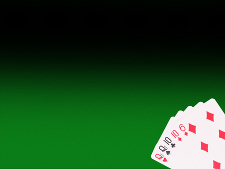 4 of a kind: Two pair playing cards on the poker table. casino concept