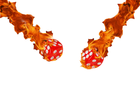 Red dice in a fire. casino concept. white background