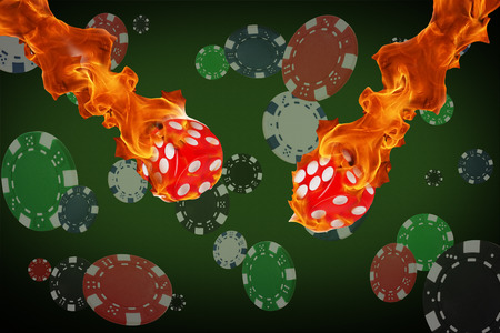 Playing chips and fire dice flying at the poker table.
