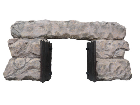 lintel: Old Neolithic gate isolated on white background. Stock Photo