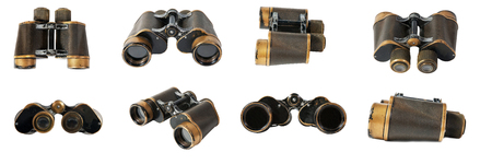 Old military binoculars on a white background. set