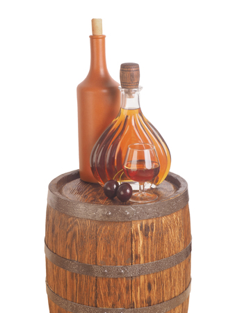 Glass of cognac with barrel on white backgroun.