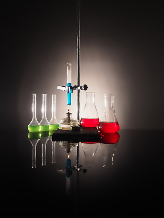 laboratory flasks with liquid inside. science concept.