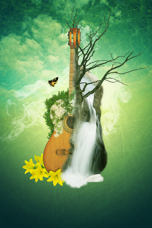 Guitar, waterfall and flowers. The concept of nature music. illustration.