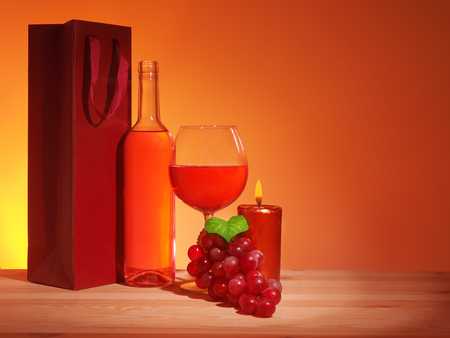 Glass of Red Wine on wooden backgraund Stock Photo