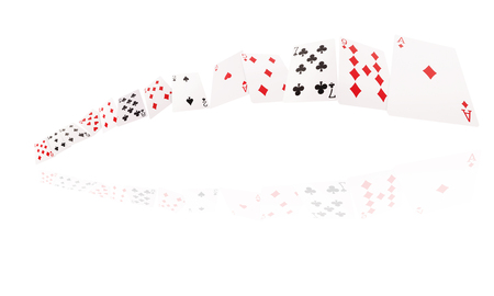 Game cards flying . Isolate on white background. Stock Photo