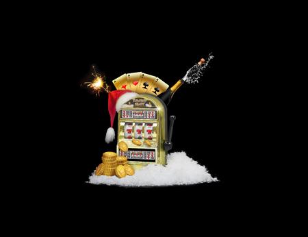 Slots machines and christmas. On a black background. illustration .