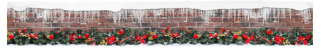 Christmas tree branches on brick wall, for store packaging.seamless. Stock Photo