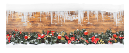 Christmas tree branches on wooden box, for store packaging. seamless. Stock Photo