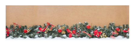 Christmas tree branches on wooden box, for store packaging. seamless. Фото со стока