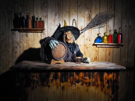 Terrible witch beer. Halloween concept