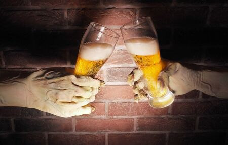 Scary hands of monster . Halloween concept. Stock Photo