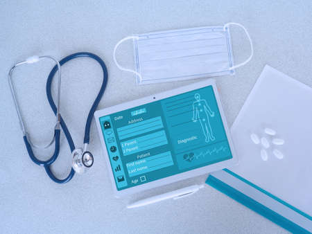 Concept online medical support during COVID - 19. Digital Medical Analysis and Health Care. Archivio Fotografico