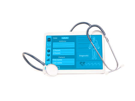 White tablet and stethoscope on background. Online medical support concept.
