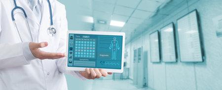 Doctor using a digital tablet . Healthcare And Medicine concept. Archivio Fotografico