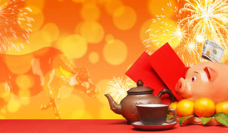 Chinese New Year. Chinese new year festival decorations.The inscription on the teapot is Long Cha, translation - dragon tea.