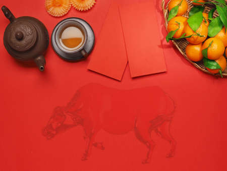 Chinese New Year. Top view accessories Chinese new year festival decorations. Archivio Fotografico