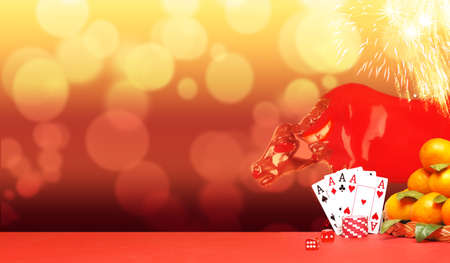 Casino concept on bright chinese new year background.