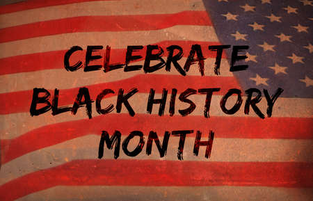 February is Black History Month. Sign on rustic background. illustration Archivio Fotografico