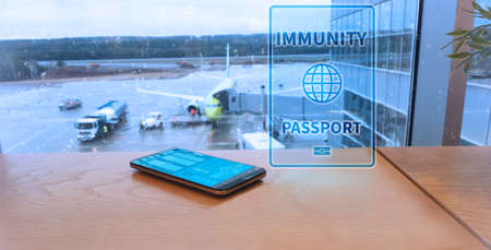 Digital immune passport at the airport.