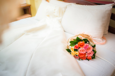 wedlock: Wedding flowers bouquet and dress, wedding decoration, Rose of Bouquet Stock Photo