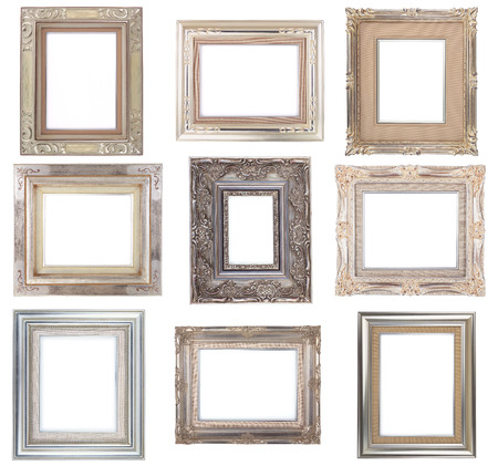 Silver Frames Set Antique Photo Frame Isolated On White Background