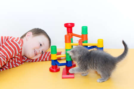 A child and a kitten play a board game with a ball rolling in a vertical maze. The child is happy, smiling. The development of fine motor skills in children, attentiveness and logical thinking Foto de archivo