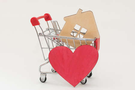 The shopping cart contains a sketchy house and a red heart next to it. The idea is to buy a home that you like, that is part of your dream, a dream home.