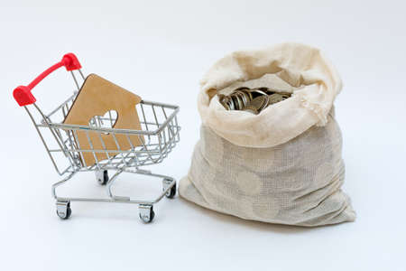 mini-cart from a supermarket,in which there is a house and an open bag with money next to it.Concept - buying real estate for cash,mortgage,loan,credit.Expensive real estate,Rising real estate prices