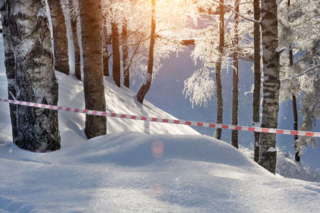 red and white protective tape, protects a cliff in the forest. Sunny day. Winter landscape, snowy trees. Horizontal photo 版權商用圖片