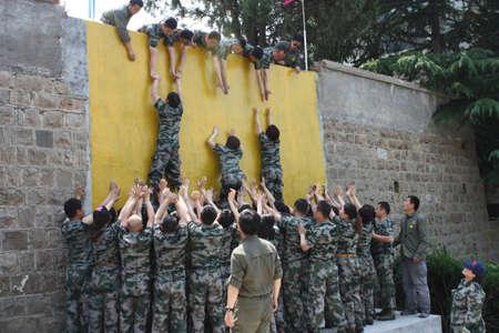 Military wall climbing training