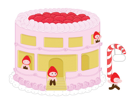 resident: Strawberry cheesecake home and resident Illustration