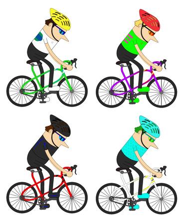 man cyclists group
