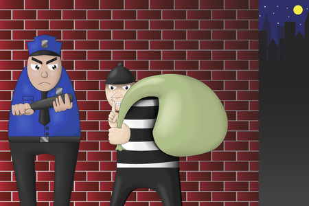 robbers and police confrontation Illustration