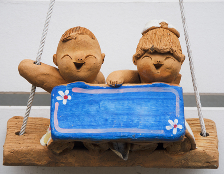 wean: label doll baked clay model hang