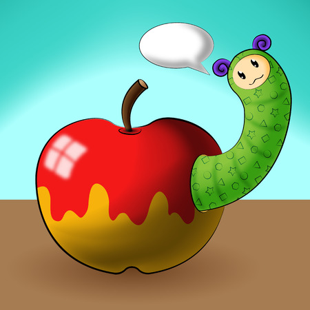 debonair: caterpillar cartoons and apple Illustration