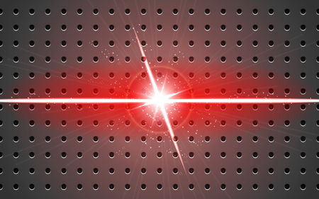 background metal and light v-shaped projection red