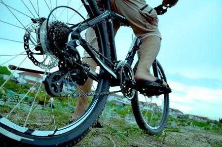 Adventure mountain bike tour with a freewheeling.