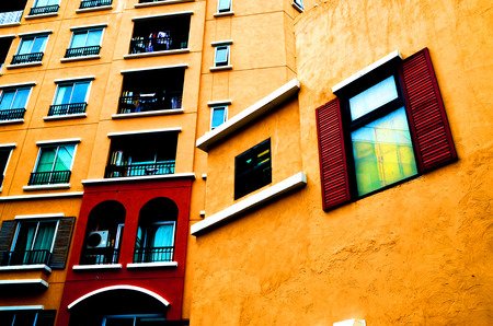 warm color: warm color building view lateral. Stock Photo