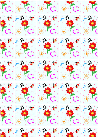 aria: Patterned background of happiness flower.