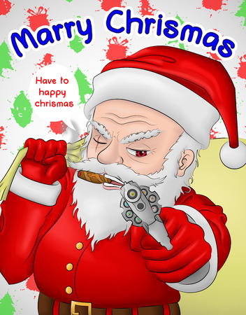 santa claus hardcore gun hold Illustration