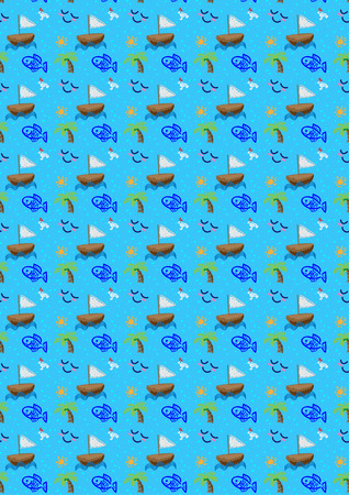 cheerfulness: sea ship fish coconut relax background