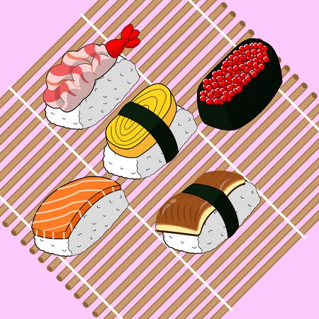 uni: sushi food japanese set Illustration