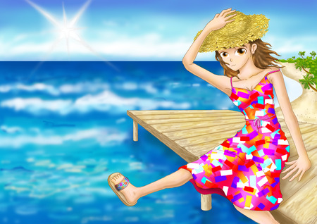 gal: digital painting girl seat edge beach