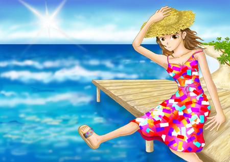 brink: digital painting girl seat edge beach