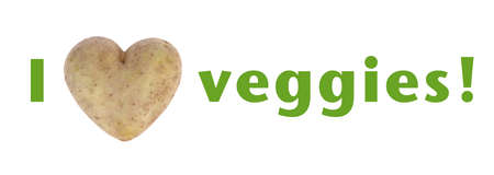 spud: I love (heart) veggies green text isolated on white, with heart shaped potato spud, studio shot