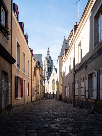 Paved street of the old town of Le Mans. Le Mans is a city in western france.
