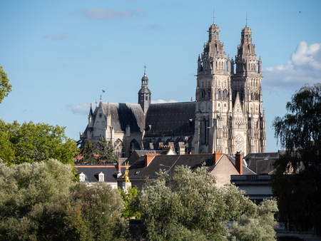 Cathedral is a Roman Catholic church located in Tours, Indre-et-Loire, France. Its name in french is Saint-Gatien cathedral of Tours. It is dedicated to Saint Gatianus. Stock Photo - 114970163