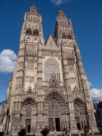 Cathedral is a Roman Catholic church located in Tours, Indre-et-Loire, France. Its name in french is Saint-Gatien cathedral of Tours. It is dedicated to Saint Gatianus. Stock Photo