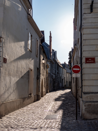 Street of the city of Tours, in the center of France. Summer.